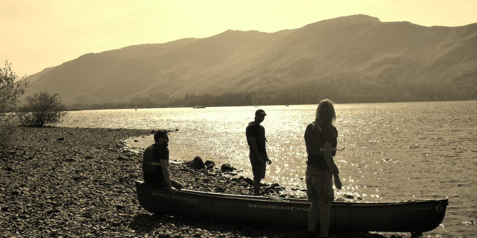 Canoeing at sunset in the Lake District