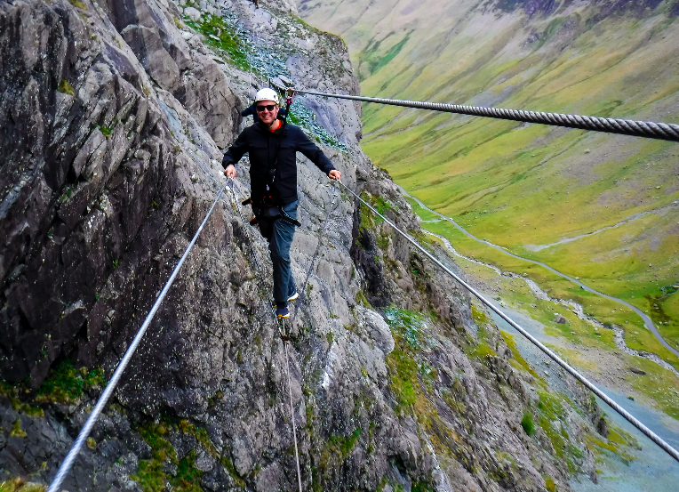 Via Ferrata infinity bridge in the Lake District
