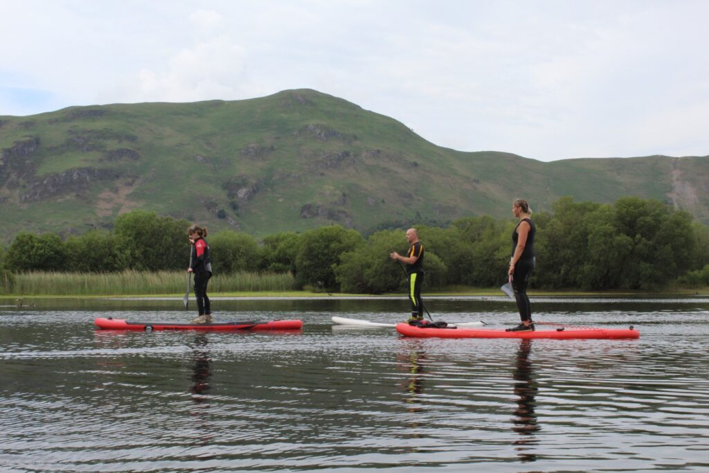 Paddle boarding on Derwentwater in the Lake District