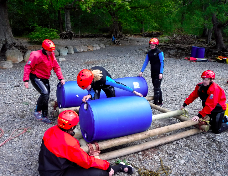 Group raft building in the Lake District