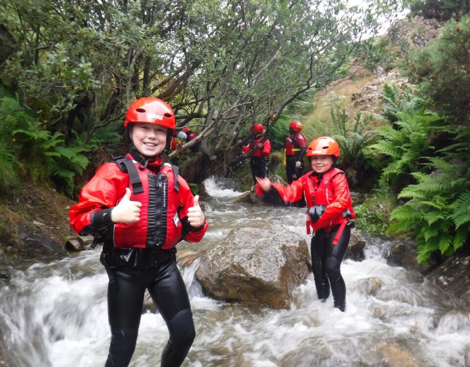 Boys ghyll scrambling in the Lake District