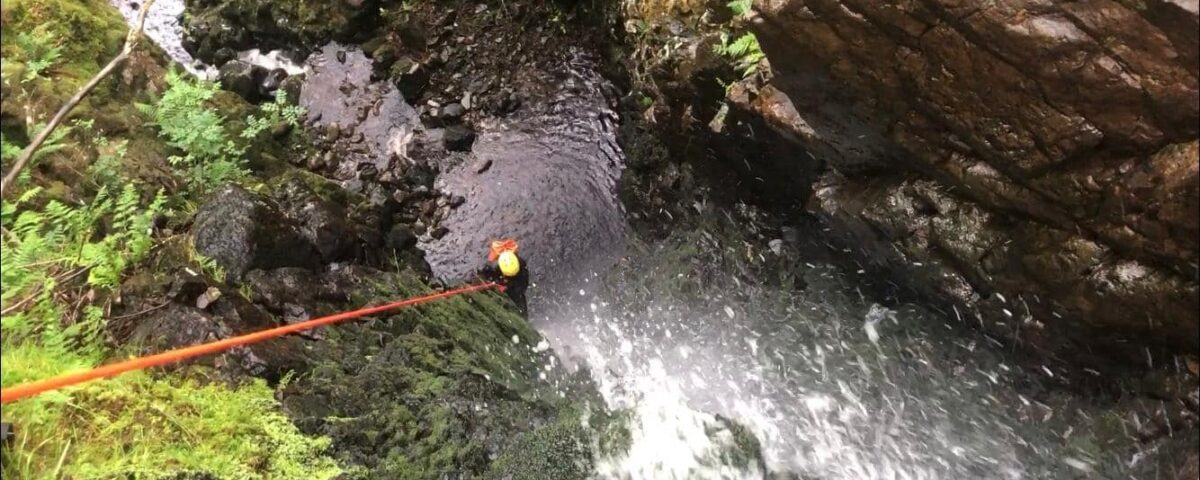 Abseiling down Skull Canyon in the Lake District