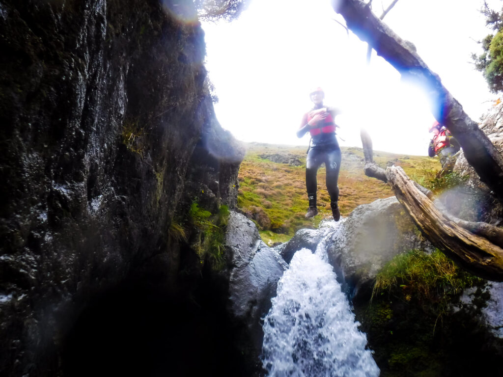 Top of waterfall during canyoning