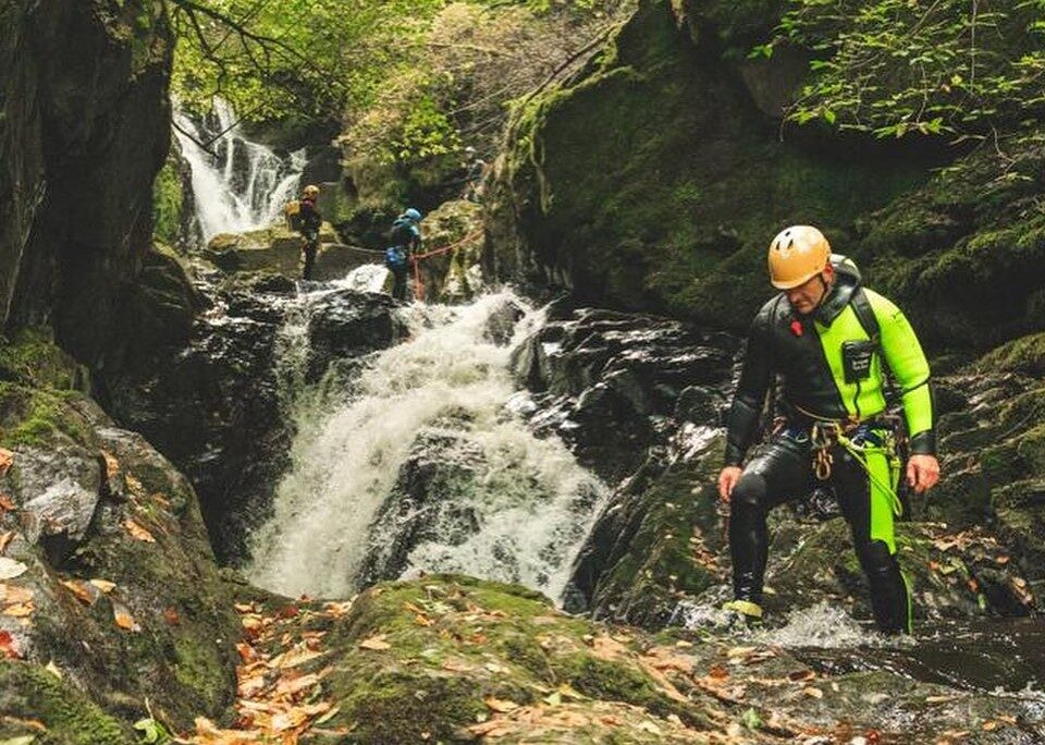 Lee Simpson canyoning with Keswick Adventures