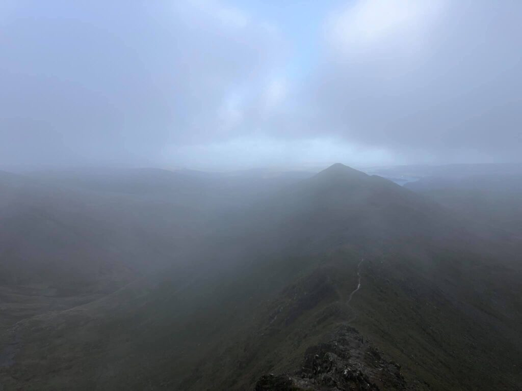 Striding Edge on Helvellyn in the mist