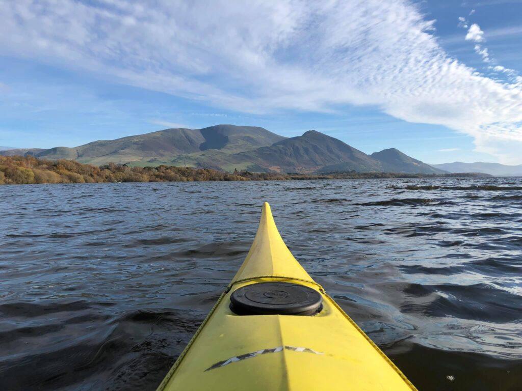 Kayak on Bassenthwaite Lake looking towards Skiddaw