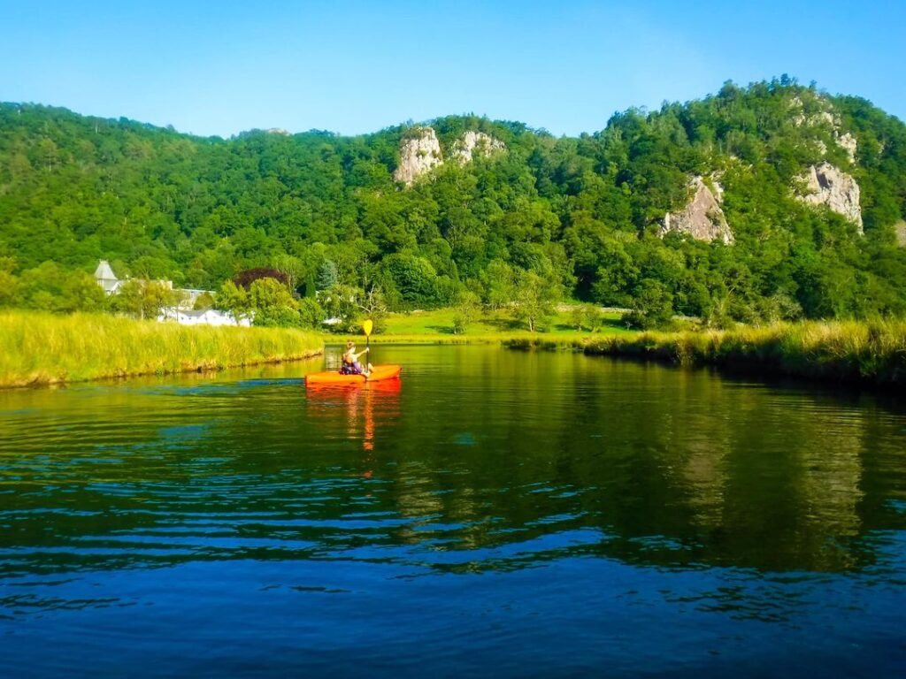 Kayaking in the Lake District in summer