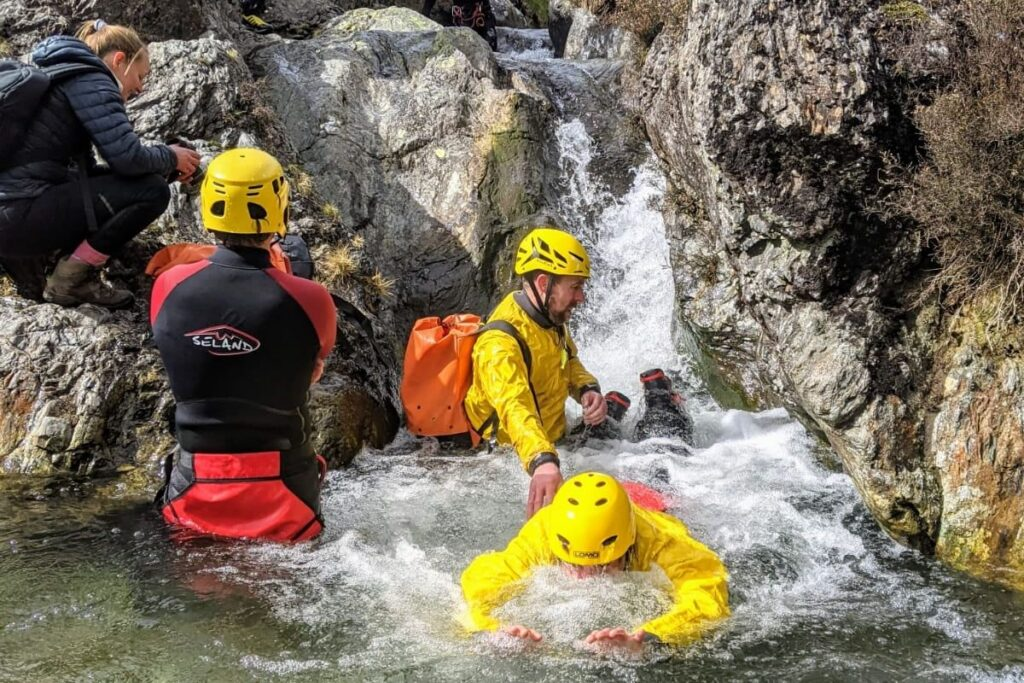 Ghyll scrambling training in Stoneycroft Ghyll