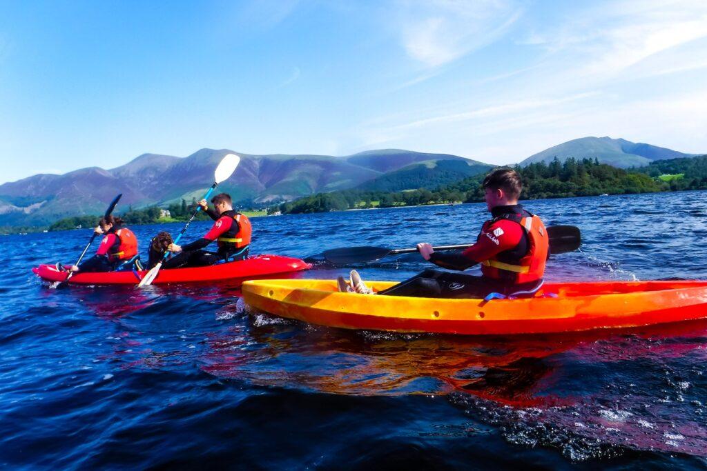 Family kayaking on Derwentwater