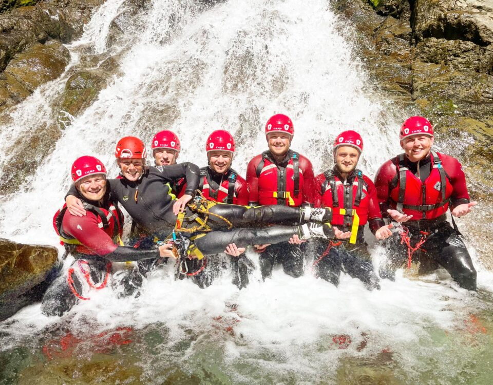 Group in the water near Keswick with Keswick Adventures
