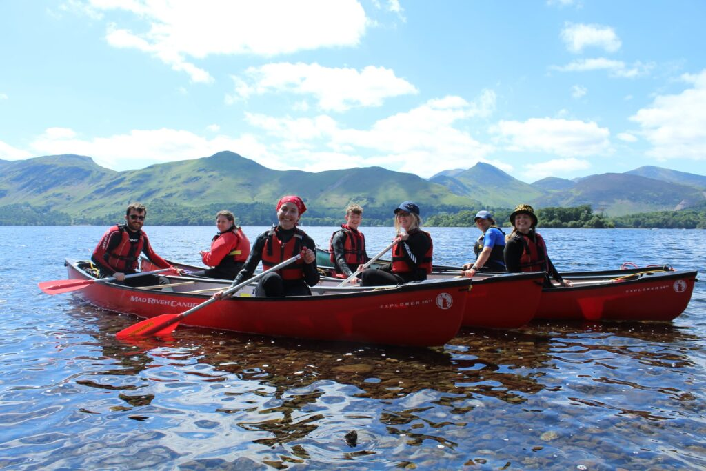 Group canoeing in the Lake District