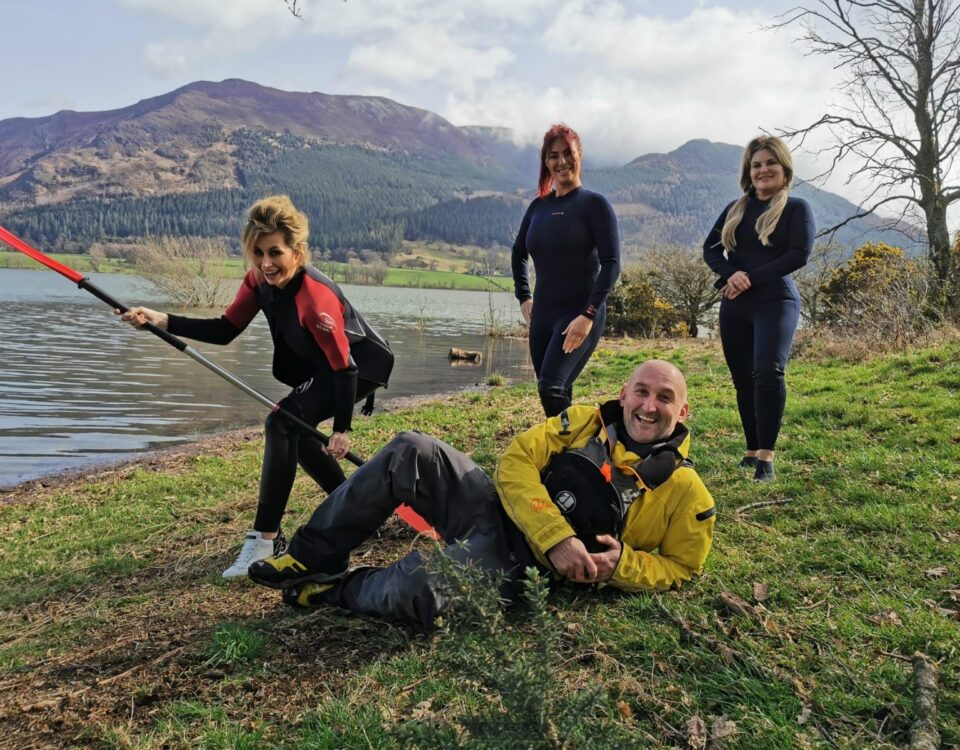 Lee Simpson at Bassenthwaite Lake with The Real Housewives of Cheshire