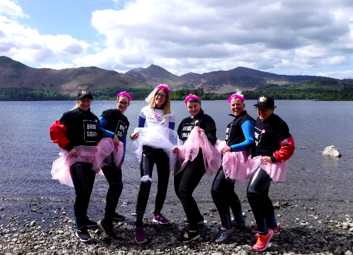 Hen party in front of Derwentwater in the Lake District