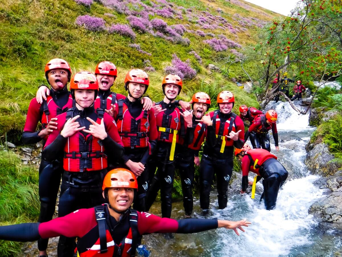 School group ghyll scrambling in the Lake District